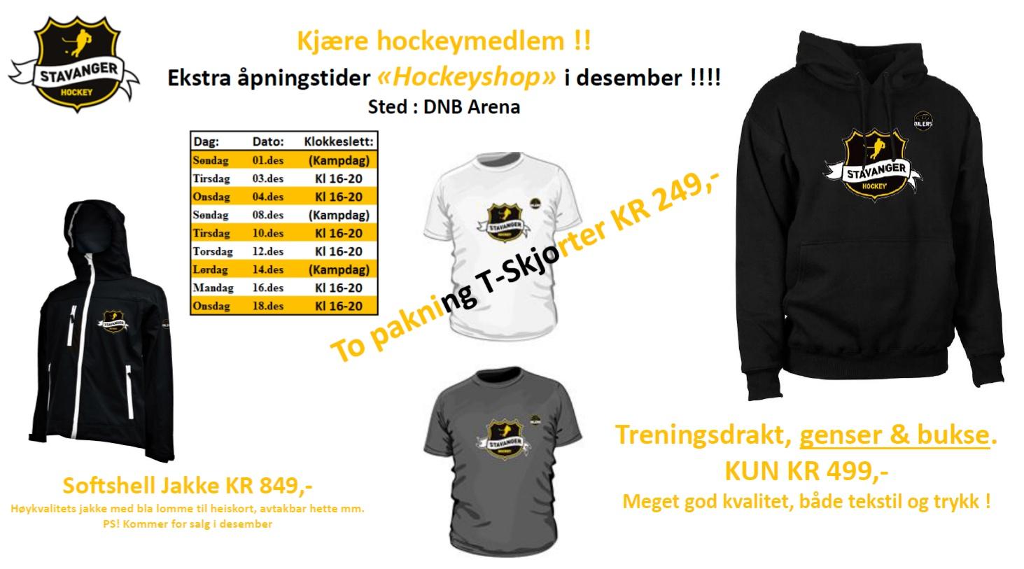 Ekstra åpningstider Hockeyshopen desember2013