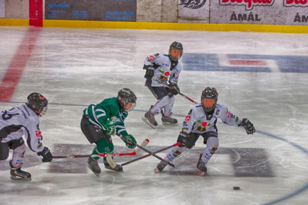 Iver Wick Karlsen, kaptein for turneringen, i kamp mot spiller fra Färjestad